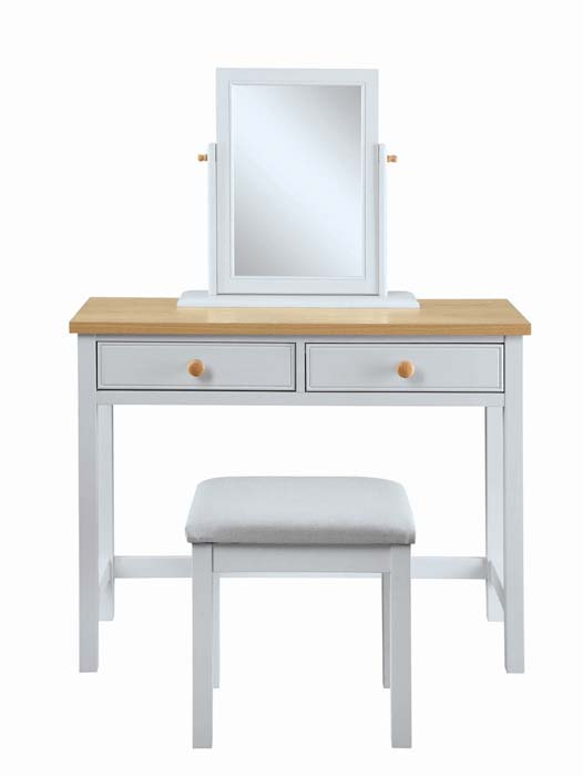 Mirrored Vanity Table And Stool: 2 Drawer Dressing Table Plus Mirror And Stool