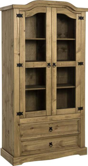 Corona 2 Door 2 Drawer Glass Display Unit in Distressed Waxed PineClear Glass Front