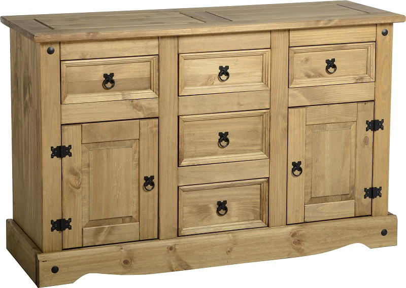 2 Door 5 Drawer Sideboard - Corona in Distressed Waxed pine