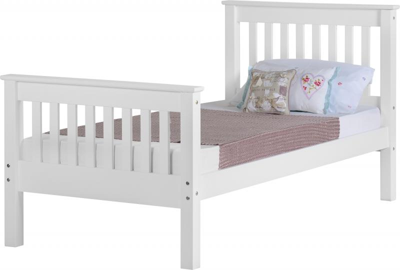 Monoco 4ft 6 white high foot end bed